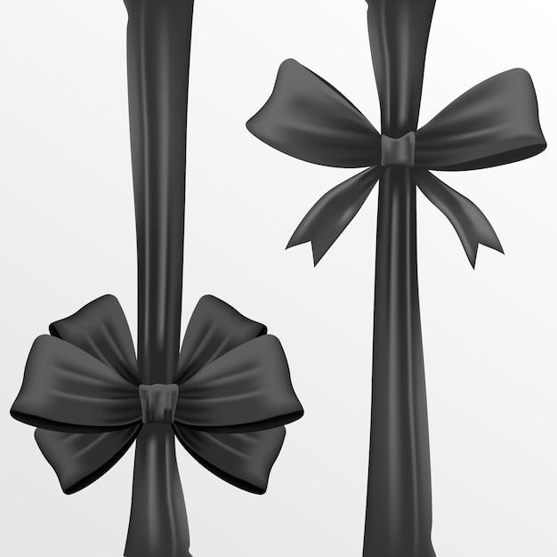 Realistic black ribbon and black bow