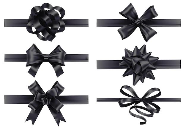 Реалистичные черные ленты с бантами.