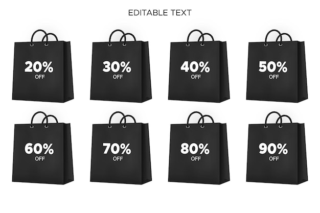 Realistic black shopping bag perfect for black friday sale