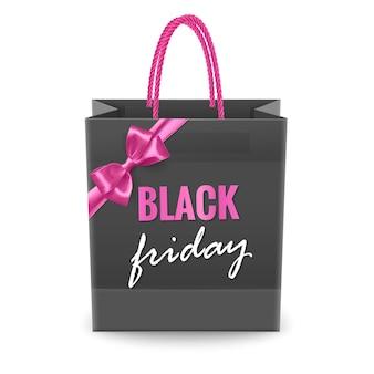 Реалистичная черная сумка для покупок с розовым бантом сумка для покупок black friday sale