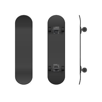 リアルな黒のスケートボードのモックアップ