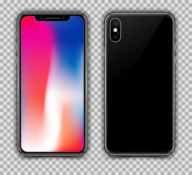 Realistic black slim phone blurred screen isolated