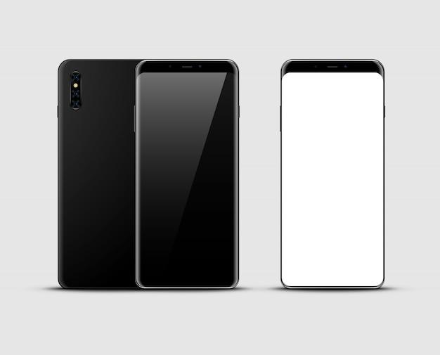 Realistic black smartphone mockup