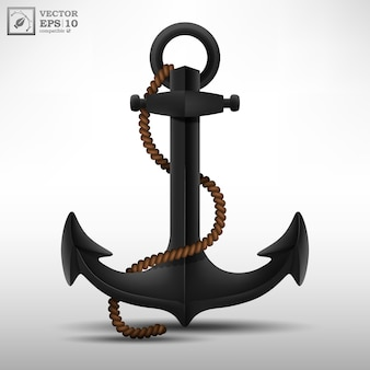 Realistic black steel anchor with brown rope isolated on white background. illustration