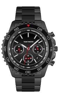 남자 럭셔리 일러스트 레이 션에 대 한 흰색 배경 디자인에 현실적인 검은 강철 시계 시계 크로노 그래프.