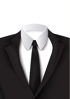 Oggetto abito nero realistico su bianco con camicia di cotone, cravatta rigorosa ed elegante colorata come giacca isolata