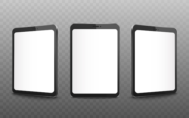 Realistic black tablet mockup set with blank white screen from front and side view