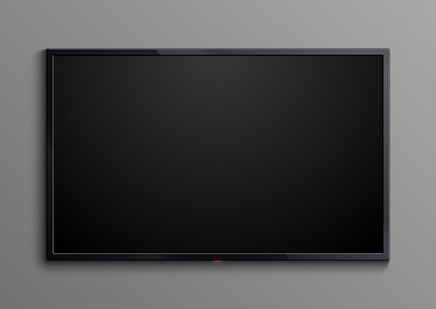 Realistic black television screen isolated. 3d blank led monitor display