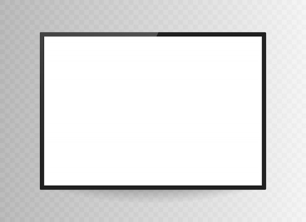 Realistic black television screen isolated on transparent background. 3d blank tv led monitor.