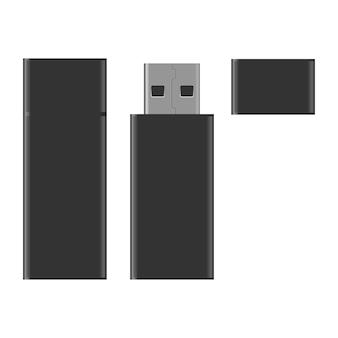 Realistic black usb flash drive