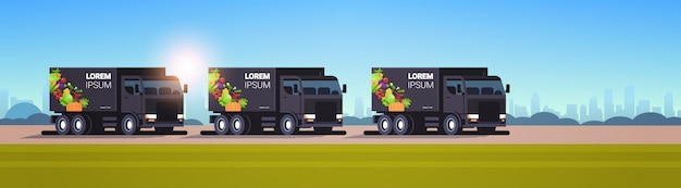 Realistic black vans with organic vegetables on city highway natural vegan farm food delivery service vehicles with fresh veggies cityscape background horizontal flat