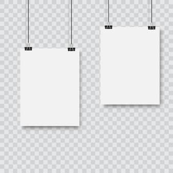 Realistic black vector blank frame hanging