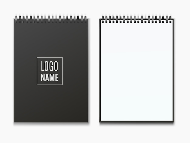 Realistic  black vertical   open  and closed  realistic spiral notepad .