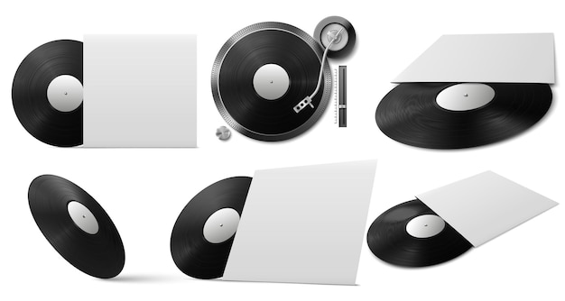 Realistic black vinyl disc with cover from different angles
