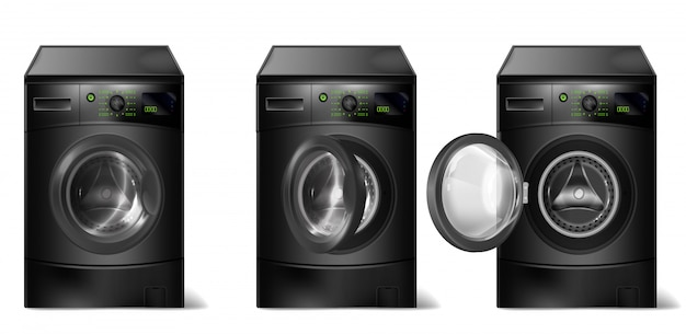 Realistic black washing machines, compact washer with front-loader