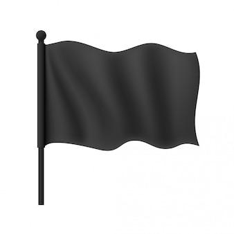 Реалистичный черный волнистый флаг