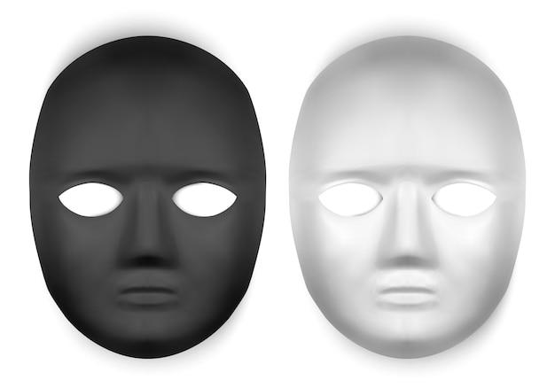 Realistic black and white masks illustration