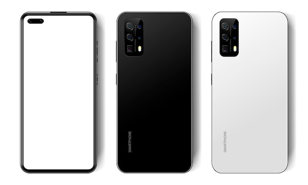 Realistic black and white modern smartphone, empty screen, mockup phone, front and back view