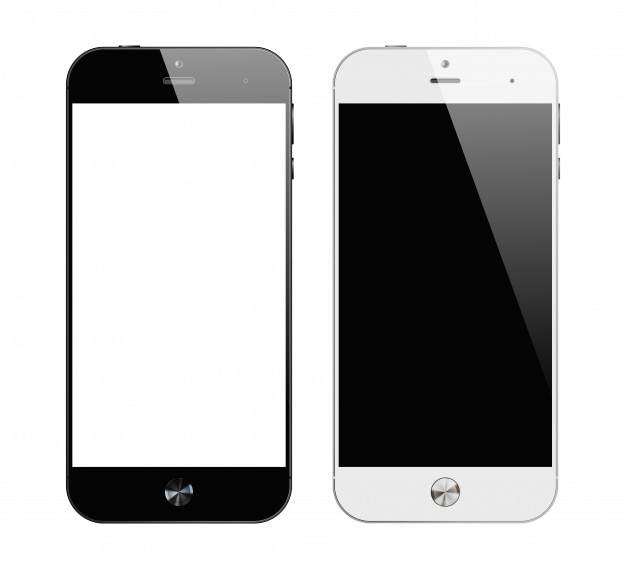 Realistic black and white smartphones