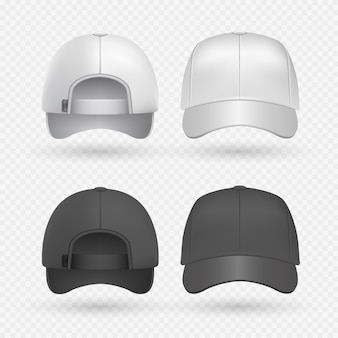 Realistic black and white sport caps isolated on transparent