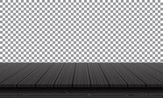 Realistic black wood table top on transparency background