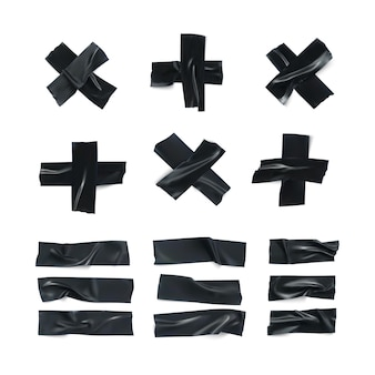 Realistic black wrinkled insulating tape strip set. sticky scotch isolated on white background. duct tape pieces collection. illustration