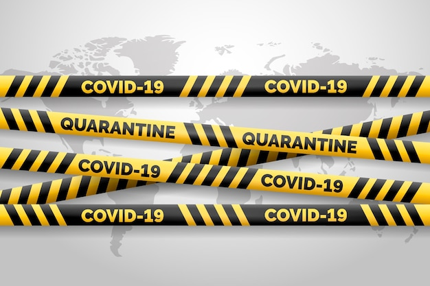Realistic black and yellow covid-19 stripes