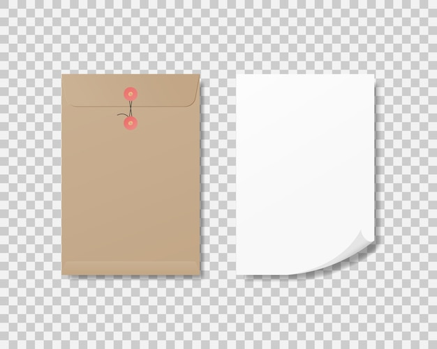 Realistic blank a4 paper and paper envelope