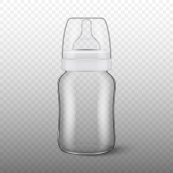 Realistic blank baby bottle icon with cap closeup  on transparency grid background. sterile empty milk container  template,  for graphics