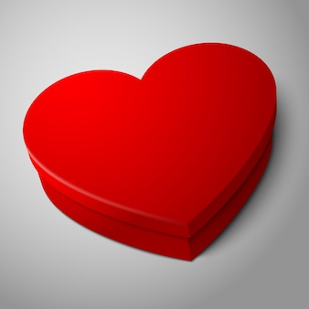 Realistic blank bright red heart shape box isolated on gray background
