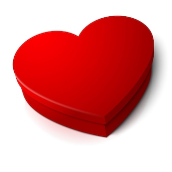 Realistic blank bright red heart shape box isolated on white background with reflection