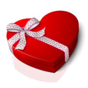 Realistic blank bright red heart shape box with pink and white ribbon