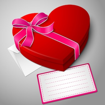 Realistic blank bright red heart shape box with ribbon