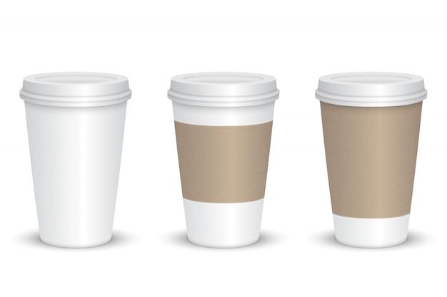 現実的な空白のコーヒーカップセット分離。ベクトルイラスト