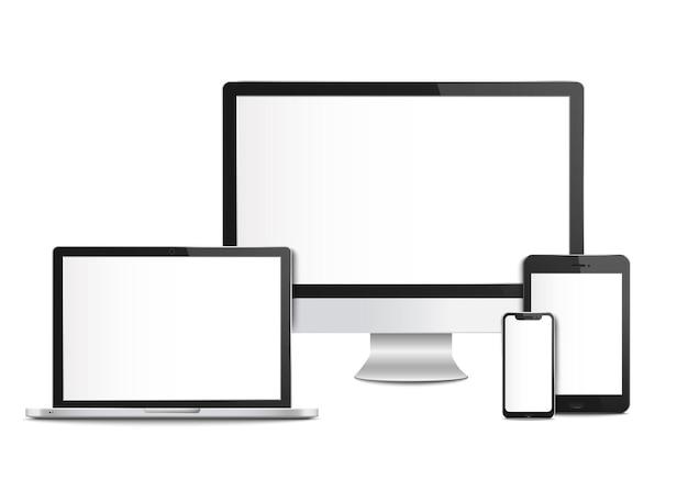 画面テンプレートとモックアップを備えたリアルな空のコンピューターデバイス