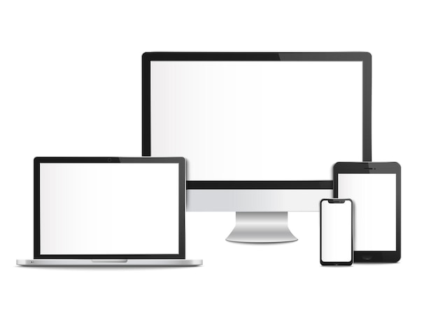 Realistic blank computer devices with screens templates and mockups