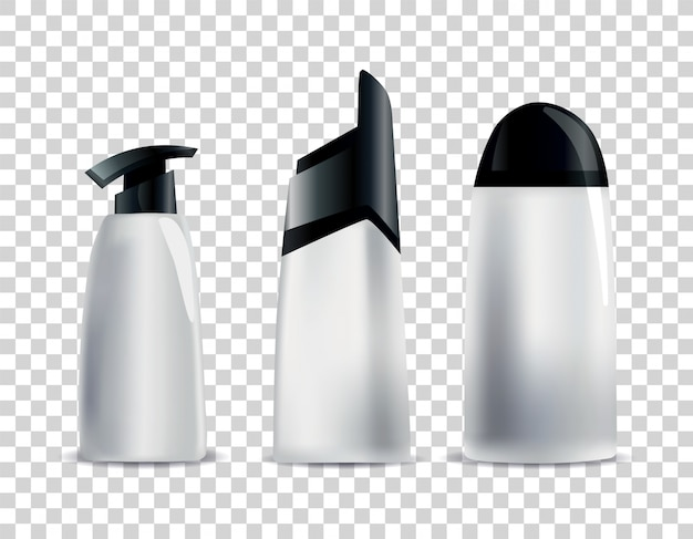 Реалистичные пустые косметические тубы. набор небрендовых упаковок для косметики для тела. векторный макет, изолированные на белом. пакет косметической продукции