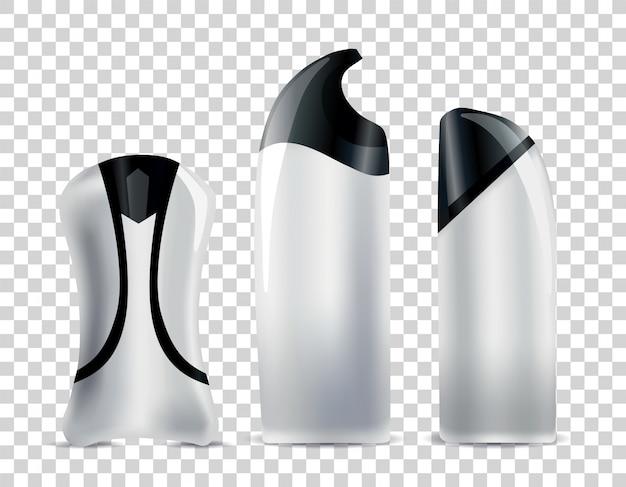현실적인 빈 화장품 튜브. 바디 코스메틱 용 브랜드가없는 패키지 세트. 벡터 모형 흰색 절연입니다. 화장품 용 플라스틱 용기.
