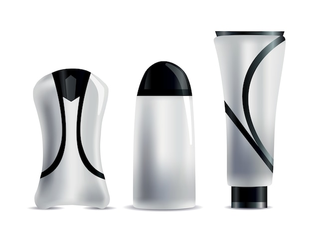 Realistic blank cosmetic tubes.