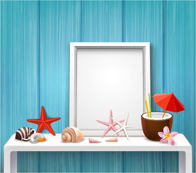 Realistic blank frame template with photographies shells cocktail starfishes in nautical style