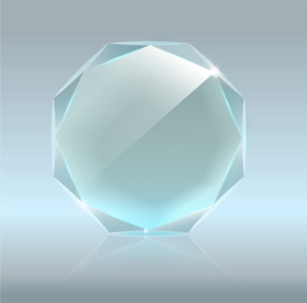 Realistic blank  glass trophy award .