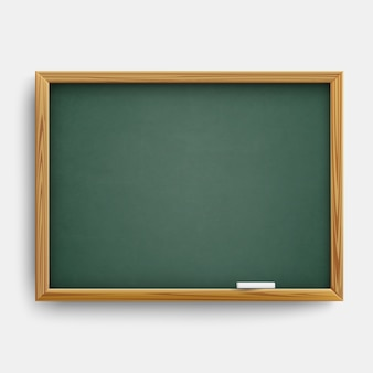 Realistic blank green class board  with wooden frame and with chalk