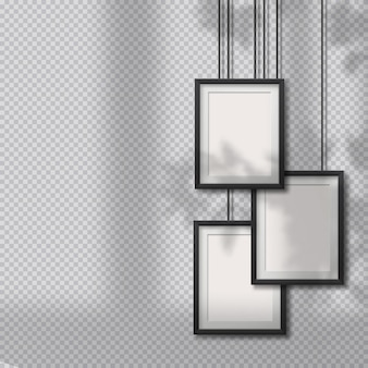 Realistic blank hanging frames. pictures, photo frames on light wall with soft  overlay shadows from window and plants outside. realistic environment shadows. hanging overlapping square design