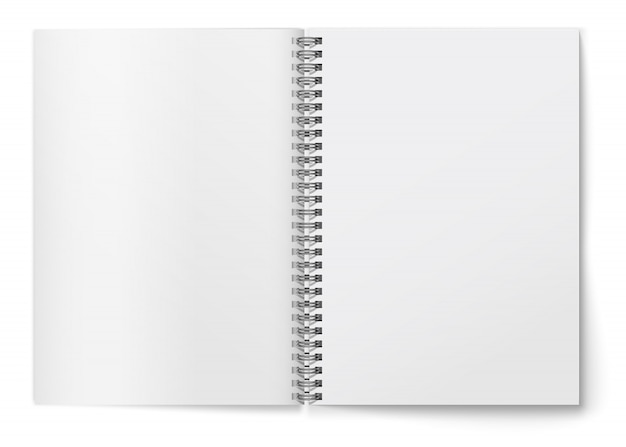 Realistic  blank   horizontal open  realistic spiral notepad .