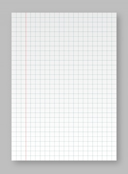Realistic blank lined paper sheet with shadow. sheets of square and lined paper from a block isolated on a gray background
