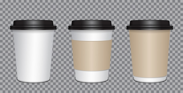 Realistic blank mock up paper cups set with black plastic lid. coffee to go, take out mug