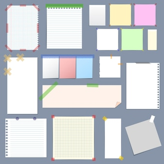 Realistic blank note paper with sticky colorful tape set on grey background.  illustration