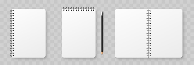 Realistic blank notebook. notepad mock up with shadow isolated on isolated background Premium Vector