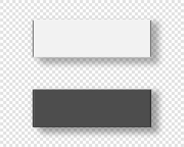현실적인 빈 패키지 골 판지 상자 세트입니다. 투명 배경에. 템플릿. 현실적인 그림.