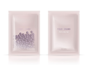 Realistic blank package, disposable foil sachet for peeling facial mask with natural granules